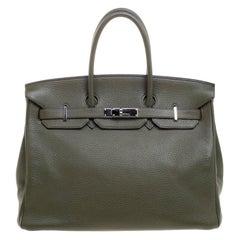 Hermes Olive Green Togo Leather Palladium Hardware Birkin 35 Bag