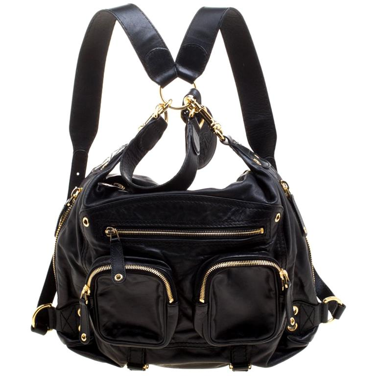 a1985160bfda Gucci Black Leather Medium Darwin Convertible Backpack For Sale at 1stdibs