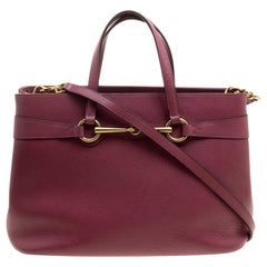 Gucci Light Burgundy Leather Bright Bit Jasmine Top Handle Bag