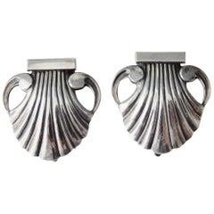 Pair of Georg Jensen Sterling Silver Shell Dress Clips/Art Deco