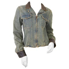 Chanel Denim Jacket with Leather Collar - size 38