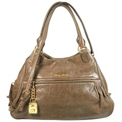 Taupe Miu Miu Leather Satchel Handbag