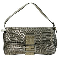 Metallic Fendi Textured Baguette Shoulder Bag
