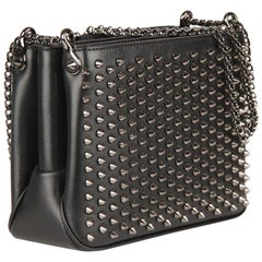 Christian Louboutin Black Leather Triloubi Small Studded Shoulder Bag