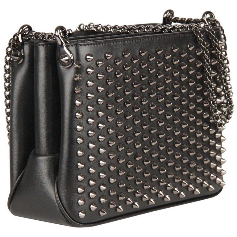 199b37daeac Christian Louboutin Black Leather Triloubi Small Studded Shoulder Bag For  Sale at 1stdibs