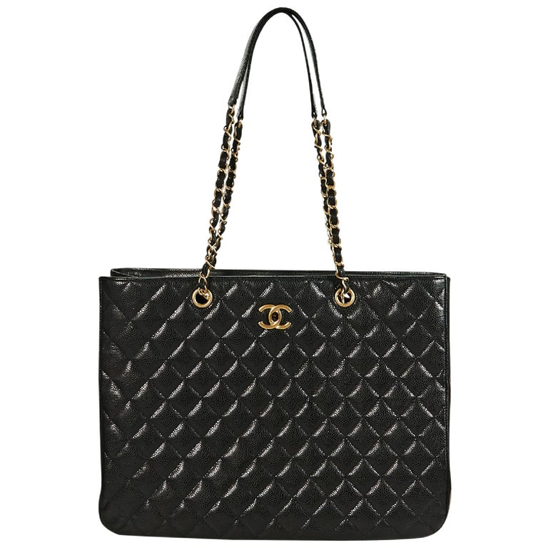 050616bbbf6e34 Black Chanel Quilted Leather Shopper Tote Bag For Sale at 1stdibs