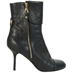 Navy Blue Louis Vuitton Leather Monogram Ankle Boots