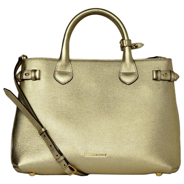 8a04e1747902 Burberry Gold Metallic Leather Banner Tote Bag W  Tartan Plaid Canvas Sides  For Sale at 1stdibs