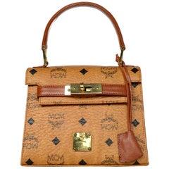 MCM Cognac Visetos Canvas Monogram Mini Kelly Style Bag W/ Clochette & Key