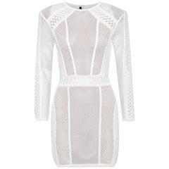 Balmain Open-Knit Mini Dress