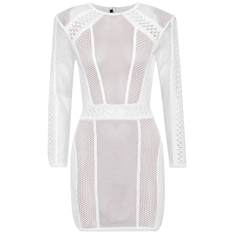 00fd317881 Balmain Open-Knit Mini Dress For Sale at 1stdibs