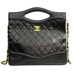 89-91 Chanel Black Leather Bag
