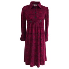Flora Kung cherry-black printed wool jersey NWT coat dress