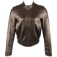 PRADA 38 Brown Leather Snap Collar Motorcycle Biker Jacket