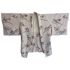 Japanese vintage botanical printed gray silk short Kimono Jacket
