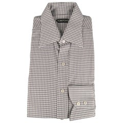 5526baf153 New TOM FORD Size L Taupe Gray & White Gingham Cotton Long Sleeve Shirt
