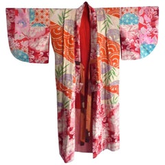 Japanese teen-size red cherry blossom printed patchwork vintage Kimono