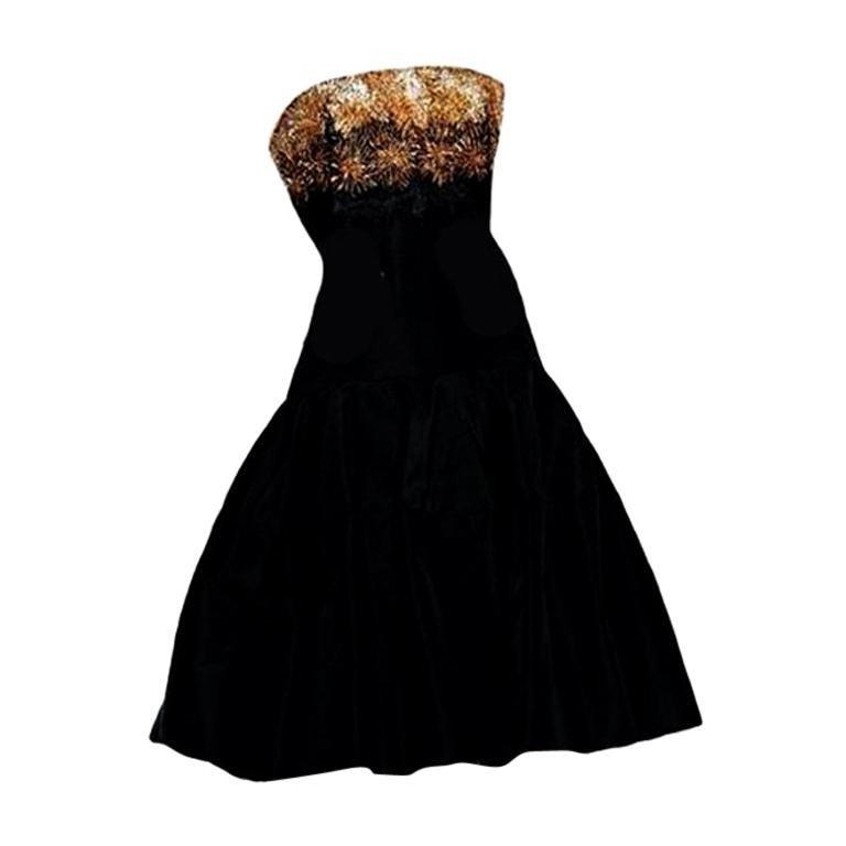 ALEXANDER MCQUEEN Strapless Embellished Black Dress For Sale