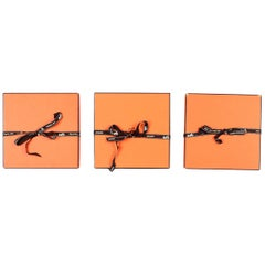 "Hermes Orange Boxes W/ Ribbon 7.5"" W x 7.5"" H x 1.5"" D (Set Of 3)"