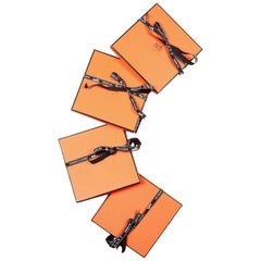 "Hermes Orange Small Accessory/Scarf Set of 4 Boxes W/ Ribbon 7"" W x 7"" H x .5"" D"
