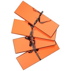 "Hermes Orange Tie/Scarf Boxes W/ Ribbons 15"" H x 5"" W x .75"" (Set of 4)"