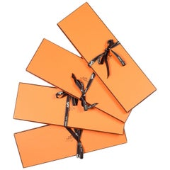 "Hermes Orange Tie/Scarf Boxes W/ Ribbons 15"" H x 5"" W x .75"" D (Set of 4)"