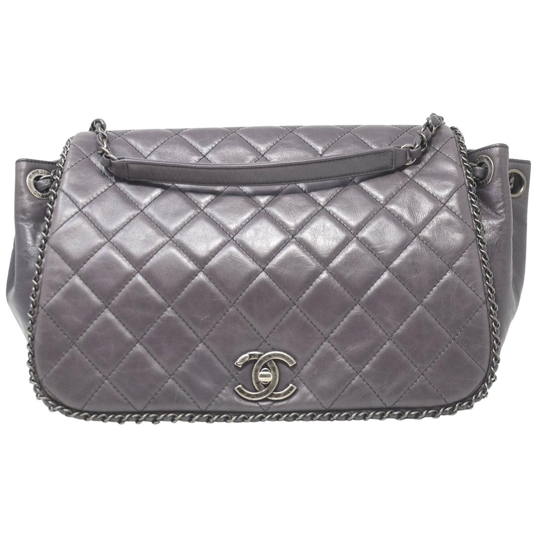 168f9538774b Chanel Pewter Evening Art Flap Camera Bag- Runway 2014 For Sale at 1stdibs