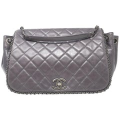 Chanel Chain Around Accordian Purple Quilted Leather Shoulder Bag