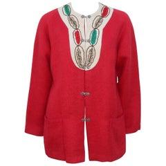 Vintage Norwegian Folkloric Red Mohair Jacket
