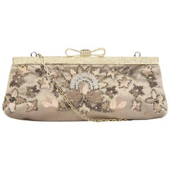Valentino Sand Satin Beaded Clutch Bag W/ Crystal Encrusted Bow & Chain Strap