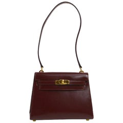 Hermes Kelly Wine Leather Gold Small Evening Shoulder Flap Bag