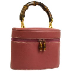 Gucci Leather Mauve Pink Top Handle Bamboo Satchel Vanity Small Evening Bag