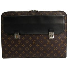 Louis Vuitton Monogram Black Men's Women's Travel Laptop Business Clutch Bag