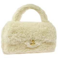 Chanel Rare Kelly Off White Fantasy Rabbit Fur Top Handle Satchel Evening Bag