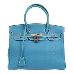 Hermes Birkin 30 Tiffany Blue Leather Silver Top Handle Satchel Tote Bag in Box