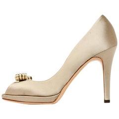 Valentino Sand Satin Peep Toe Pumps W/ Crystal Encrusted Bow Toe Sz 36.5