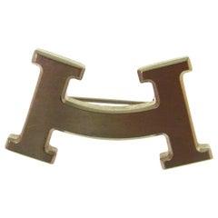 Hermes Silver Tone 'H' Logo Men's Women's Lapel Pin Suit Brooch in Box