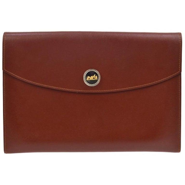 Hermes Leather Gold Silver Horse Emblem Evening Envelope Clutch Bag in Box For Sale