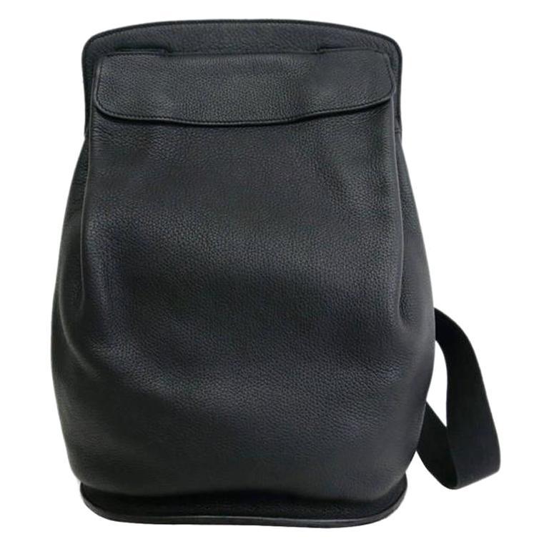 8f51029dc3 Hermes Black Leather Men's Women's Travel Carryall Shoulder Backpack For Sale  at 1stdibs