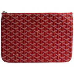 Goyard Red Monogram Canvas Zip Laptop Envelope Travel Business Clutch Bag in Box