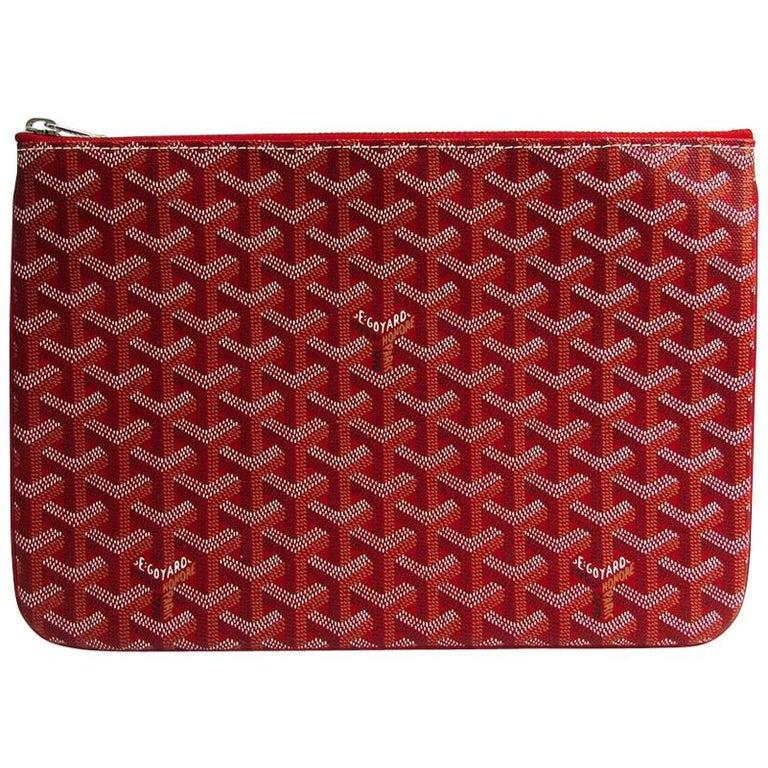 Goyard Red Monogram Canvas Zip Laptop Envelope Travel Business Clutch Bag in Box For Sale