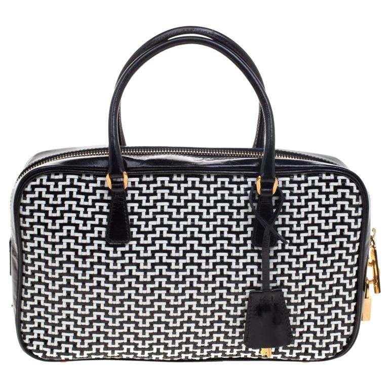b1aede946b40 Prada Black/White Woven Leather Bowler Bag For Sale at 1stdibs