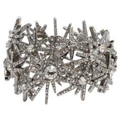 Oscar de la Renta Swarovski Crystal Fireworks Motif Statement Bracelet in Silver