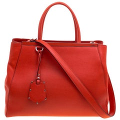 Fendi Candy Red Saffiano Leather 2Jours Tote