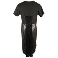 COMME des GARCONS HOMME PLUS Size M Black Glitter Velvet Cotton Long T-shirt