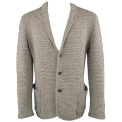ICEBERG S Grey Knitted Wool / Cashmere / Silk Notch Lapel Cardigan Jacket