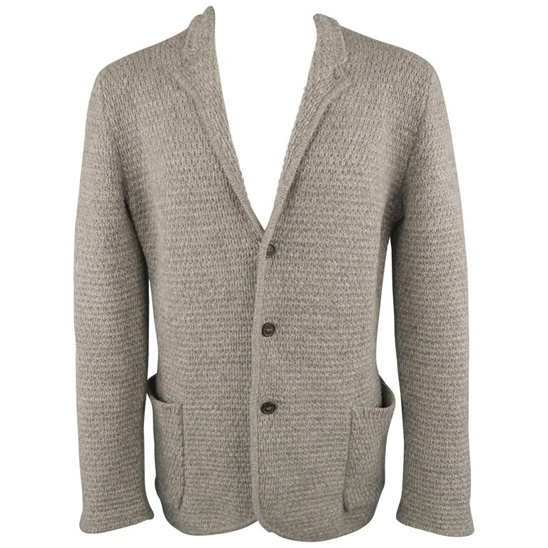 2ac3fc360 ICEBERG S Grey Knitted Wool / Cashmere / Silk Notch Lapel Cardigan Jacket