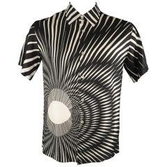 SANDY DALAL Size L Black & White Print Silk Button Up Short Sleeve Shirt