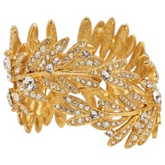 Oscar de la Renta Tropical Leaf Hinged Cuff Bracelet, Clear Crystals, in Gold