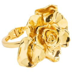 Oscar de la Renta Big Bold Rose Hinged Bracelet in Gold